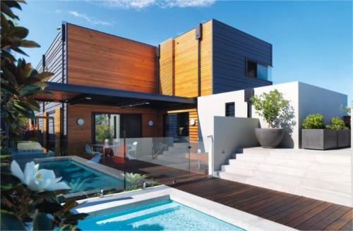 casas prefabricadas de madera con piscina